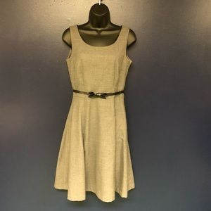 H&M grey dress, lined, with belt, size 6